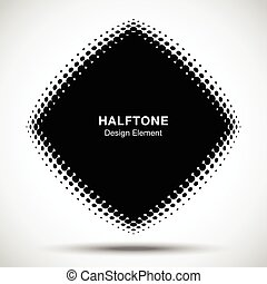 Convex black abstract vector distorted rhombus square frame halftone dots logo emblem design element for new technology pattern background.