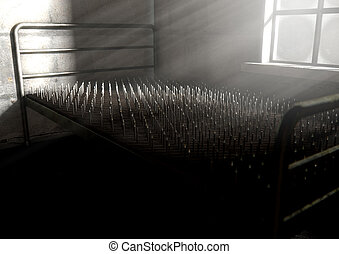Bed Of Nails In A Room - A metaphor showing a literal bed of...