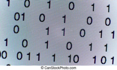 Binary code on a computer screen