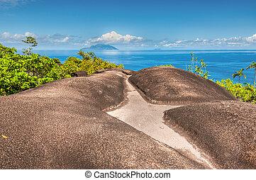 principal,  Seychelles, natureza,  Mahe, ilha, rastro,  Anse