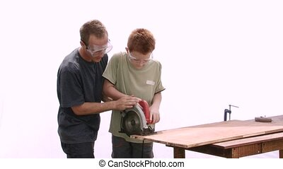 Learning to Cut - Real construction worker teaching a...