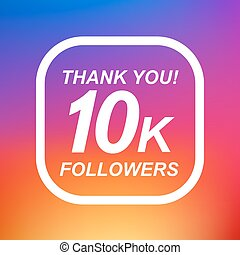 Thank you 10k followers label design elements. Vector...