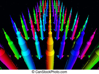 Masses of colorful rockets - Computer generated 3D...