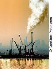 Atmosférico, ar, poluição, Fábrica