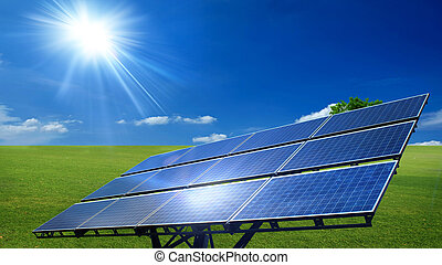 solar cell panels - sun light and solar cell panels