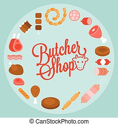 Butchery product icon such as sausage, ham, pepperoni...