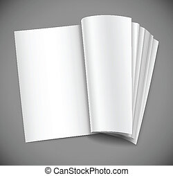 open magazine with blank white page