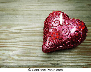 heart candles love valentine's day on wooden background
