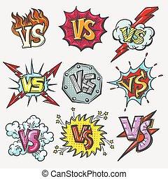 Versus doodle patch set. VS battle letters emblems, duel...