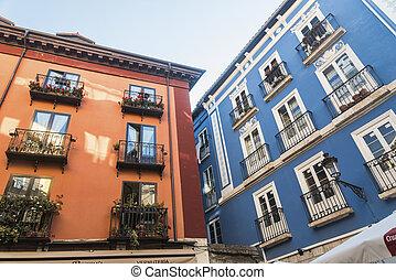Burgos (Spain): historic buildings in Calle Lain Calvo -...