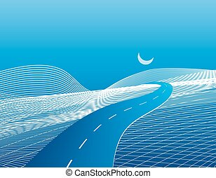 Road and highway on a stylized abstract map with relief. illustration