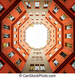 Bottom view of octagon roof in Berlin - Bottom view of red...