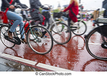 Bicycles on the streets of the city. Bike traffic on bicycle...