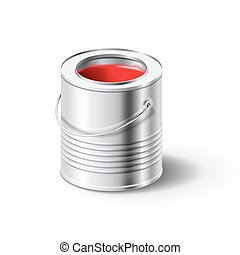 paint can with red color - Realistick metal paint can with...