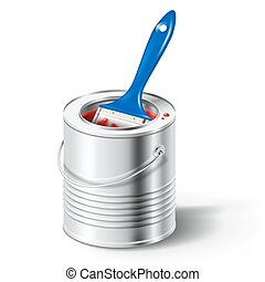 paint can with red color and brush