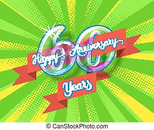Happy 60th anniversary glass bulb numbers set - Happy 60th...