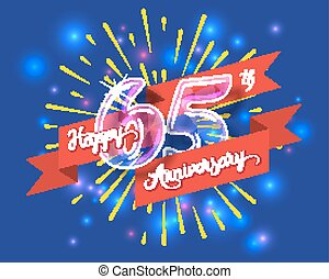Happy 65th anniversary glass bulb numbers set - Happy 65th...