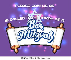 Bar Mitzvah invitation card - Bar Mitzvah party invitation,...