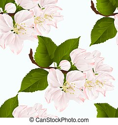 Seamless texture Apple blossom twig with leaves vector.eps -...
