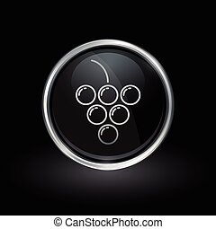 Grape cluster icon inside round silver and black emblem