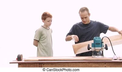 Router Instruction - Real construction worker teaching a...