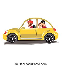 Happy family travel in a car The family go out of town for a...