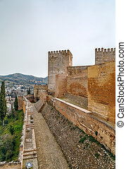 Alcazaba fortress, Granada, Spain - Walls and tower of...
