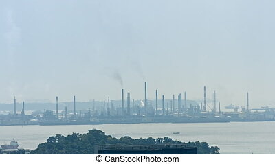 Industrial skyline with mills and factories. FullHD 1080p...
