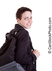 young man with a school bag, isolated on white, studio shot.