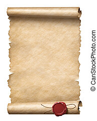 Old scroll or letter with wax seal isolated 3d illustration...