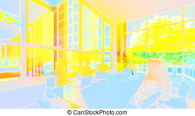 Business team silhouettes meeting, office building, 3d...