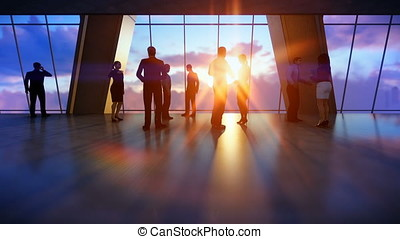 Business team talking, office against sunset