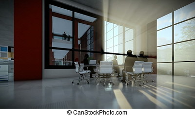 Business team silhouettes meeting, office building at...