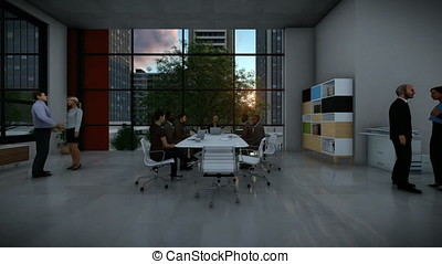 Business team meeting, rear view cityscape at sunset, zoom in