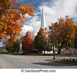 Manchester Vermont in Fall - Autumnal shot of the main...
