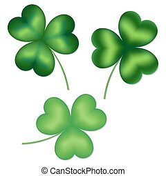 Collection of shamrocks - Assortment of clover leaves with...