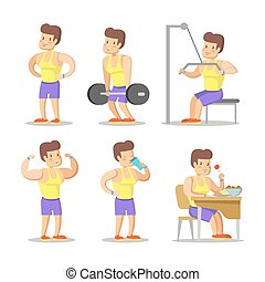 Strong Man Cartoon. Body Builder in Gym. Healthy Lifestyle. Vector character illustration