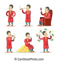Happy Cartoon Rich Man with Money and Cigar. Successful...