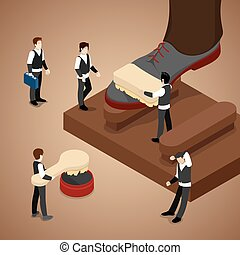 Miniature People Polishing Shoe. Isometric vector flat 3d...