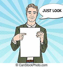 Businessman Pointing at Blank Sheet. Business Presentation....