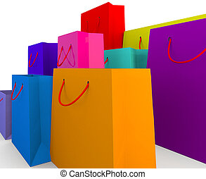 selection of colourful shopping bags - different colours and...