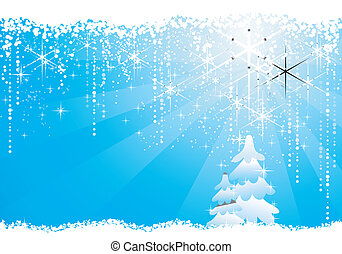 Seasonal blue Christmas / winter background with trees, circles,  stars and grunge elements.