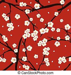 White Plum Blossom Flower on Red Background. Vector Illustration