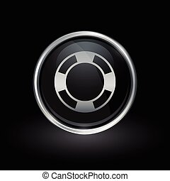Life buoy icon inside round silver and black emblem