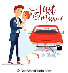 Just married happy couple bride and groom hugging each other, wedding card design, vector illustration. Just married car