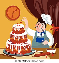 Chef is Making Cake in the Furnace. Cartoon baker with a big cake. Fat cartoon chef Vector illustration