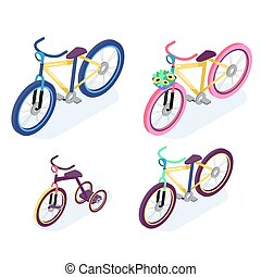 Isometric People. Isometric Bicycle isolated. Family Cyclists group riding bicycle. Cyclist icon.