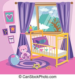 Girls bedroom interior. Flat style cartoon vector illustration. Baby room in pink. Baby room with furniture. Nursery interior.