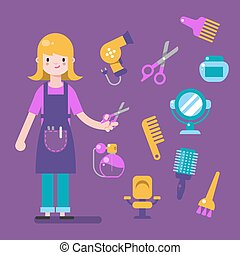 Hairdresser character design with barber equipment icons set. Stylist elements for info graphic.