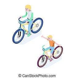 Isometric People. Isometric Bicycle isolated. Cyclist icon. 3D Flat isometric people set cyclist bicycle icons
